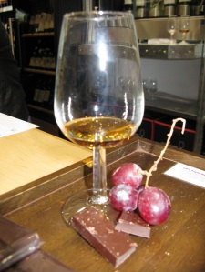 Chateau de Laubade Armagnac, with grapes and chocolate