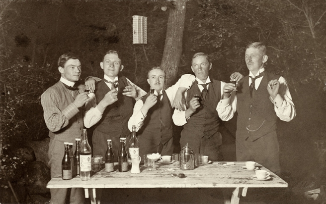 drinking akvavit, sweden, early 20th century